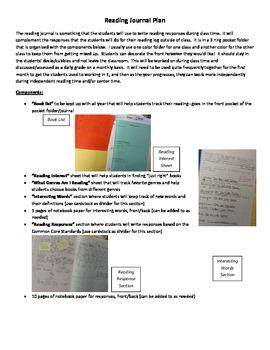 Reading Journal Kit--Common Core Aligned