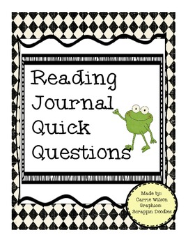 Reading Journal Log Comprehension Packet Take Home or In Class- Frog Theme