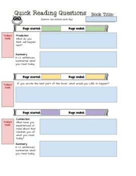 Reading Log Response Journal Packet Take Home or In Class- Owl Theme