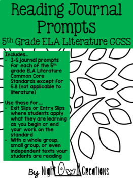 Reading Journal Prompt Pack:  ALL Common Core for Literature Standards