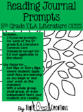5th Grade Reading Journal Prompt Pack:  ALL Common Core Literature Standards