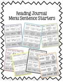 Reader's Response- Journal Sentence Starter Menus
