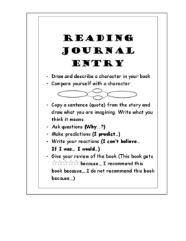 Reading Journal Topics - Reading Response - Reading Log - Sentence Starters