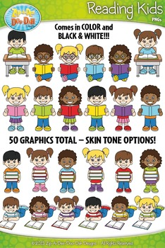 Reading Kid Characters Clipart {Zip-A-Dee-Doo-Dah Designs}