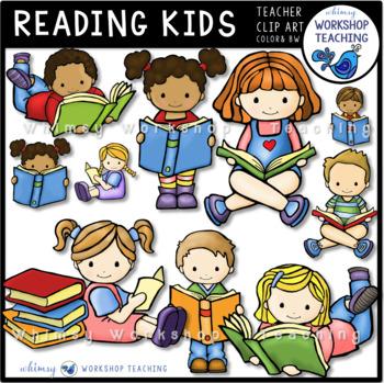 Reading Kids Clip Art - Whimsy Workshop Teaching