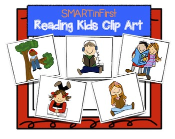 Reading Kids Clip Art Set