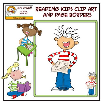 Reading Kids - Digital clip art and borders by Hot Dawg Il