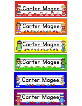 Reading Kids Themed Editable Name plates / Desk Plates / Name Tags