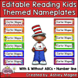 Reading Kids Themed Editable Name plates / Desk Plates / N