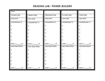 Reading Lab - Power Builders Student Tracker