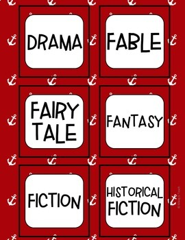 Reading Book Bin Labels - Classroom Library - NAUTICAL Red, White, Blue