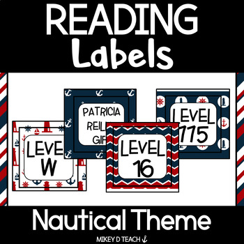Reading Book Bin Labels - Classroom Library - NAUTICAL Red