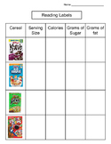 Reading Labels - Differentiated Math Activity