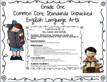Reading Language Arts Common Core Standards Unpacked Grade 1