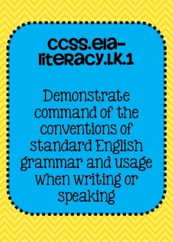 Kindergarten Common Core ELA Language Standards Posters