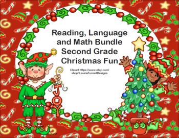 Reading, Language and Math Bundle-Second Grade Christmas Fun