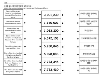 Reading Large Numbers in Korean Game and Worsheet | TpT