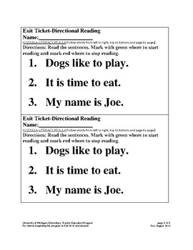 Reading Left to Right Lesson