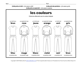 Reading: Les couleurs; Colors practice and reading in French