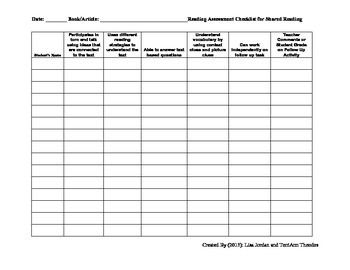 Reading Lesson Assessment Checklist