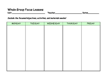 Reading Lesson Plan Form