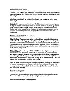 Reading Lesson Plan/TC Format/Teaching Fact and Opinion with Non-FIction Text