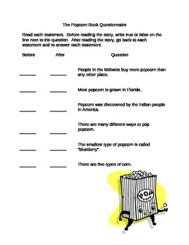 """Reading Lesson using """"The Popcorn Book"""" by Tomie Depaola"""