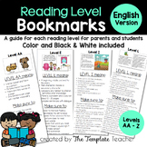 Reading Level Bookmarks - Guide for Leveled Books English ONLY
