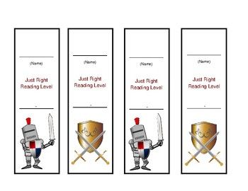 Reading Level Bookmarks - Knights