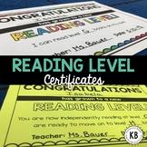Reading Level Certificates