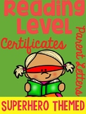 Reading Level Certificates with Parent Letter