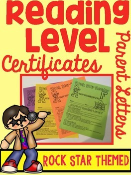 Reading Level Certificates with Parent Letter ROCK STAR THEMED