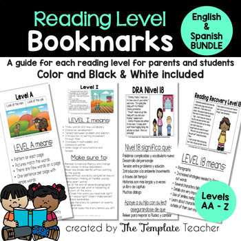 Reading Level Guide:Parent's Handbook for Leveled Books English & Spanish BUNDLE