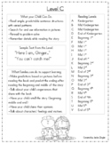 Reading Level Info Sheets for Parents
