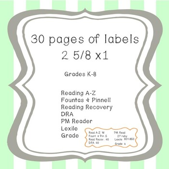 Reading Level Labels (Grades K-8)-UPDATED!