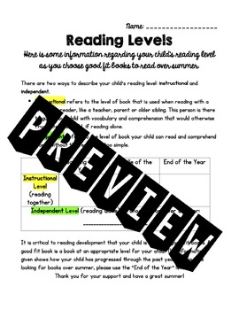 Reading Level Parent Letter