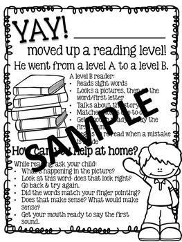 Reading Level Parent Letters