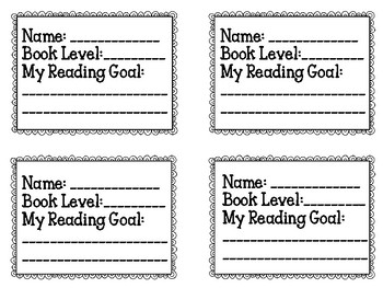 Reading Level Student Cards