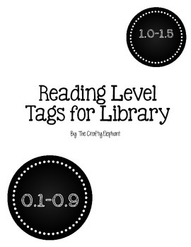 Reading Level Tags for a library, chalkboard