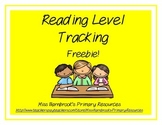 Reading Level Tracking Sheet