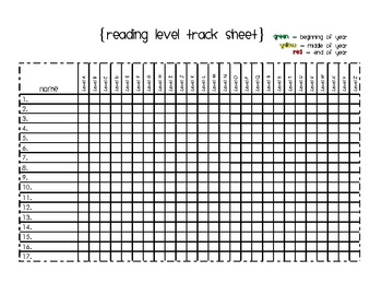Reading Level Tracking Sheet A-Z