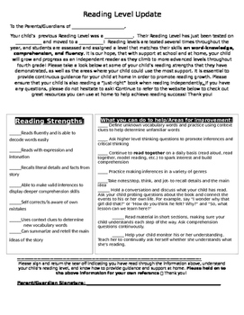 Reading Level Update: Helpful Letter for Parents
