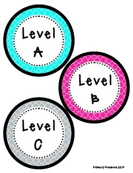 Reading Leveled Library Labels (A-Z) - Bright Turquoise, Pink, Gray Quatrefoil
