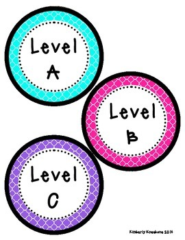 Reading Leveled Library Labels (A-Z) - Bright Turquoise, Pink, Purple Quatrefoil