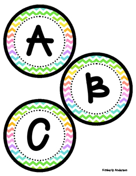 Reading Leveled Library Labels (A-Z: Just Letters!!) - Neon Chevron