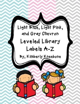 Reading Leveled Library Labels (A-Z) - Light Blue, Light Pink, and Gray Chevron