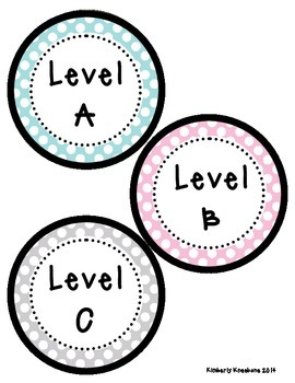 Reading Leveled Library Labels (A-Z) - Light Blue, Pink, and Gray Polka Dots