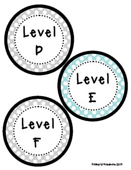 Reading Leveled Library Labels (A-Z) - Light Blue and Gray Polka Dots