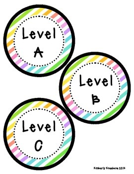 Reading Leveled Library Labels (A-Z) - Neon Diagonal Stripes