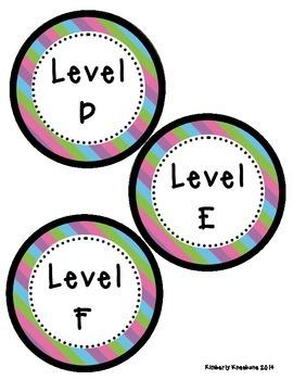 Reading Leveled Library Labels (A-Z) - Pretty Diagonal Stripes